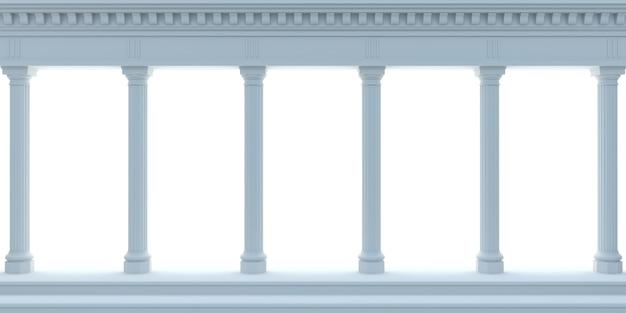 3 dイラスト大理石のアンティーク壁の青いアーケード。背景バナー。