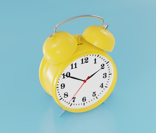 黄色の目覚まし時計、リンギング、3 dレンダリング。