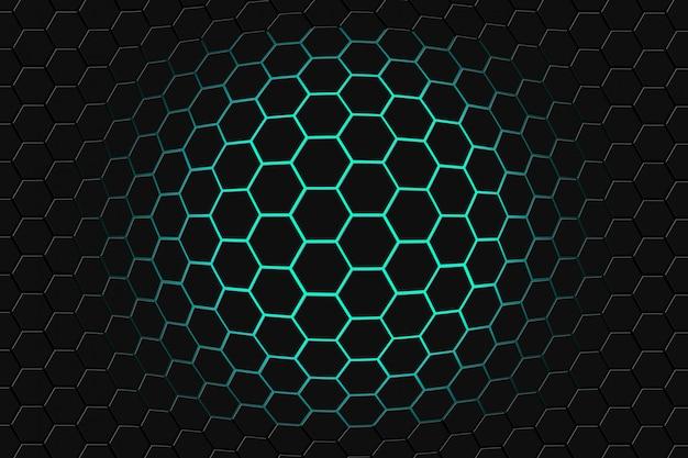 六角形の背景を持つ未来的な表面の抽象的な3 dレンダリング。