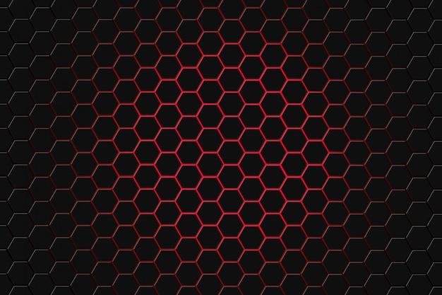 六角形の未来的な表面の抽象的な3 dレンダリング。濃い赤のサイエンスフィクションの背景。