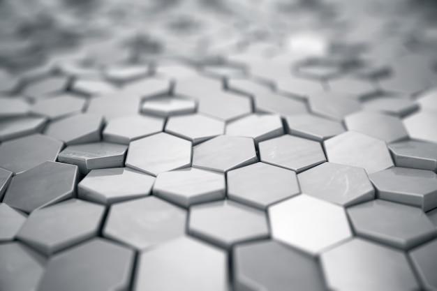 電界効果の深さと銀の抽象的な六角形の背景。多数の六角形の構造。鋼ハニカム壁のテクスチャ、光沢のある六角形のクラスターの背景、3 dレンダリング