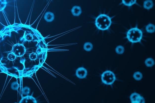 感染した生物、ウイルス性疾患の流行、ウイルスの抽象的な背景の3 dレンダリングウイルス。