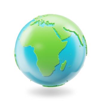 白い背景で隔離の地球。地球惑星地球アイコン、3 dレンドリング