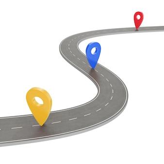 ロードトリップとジャーニールート。ピンポインターと白い背景の曲がりくねった道。ピンポインター、3 dレンダリングと道路方法場所インフォグラフィックテンプレート