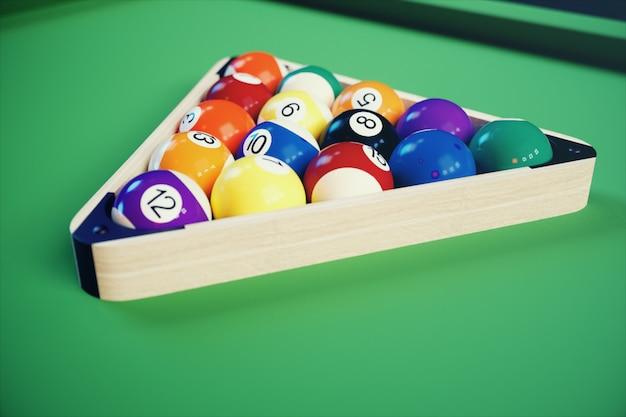 3 dイラストレクリエーションスポーツ。緑のビリヤードテーブルの上でビリヤードボール。ビリヤードスポーツコンセプト。プールビリヤードゲーム