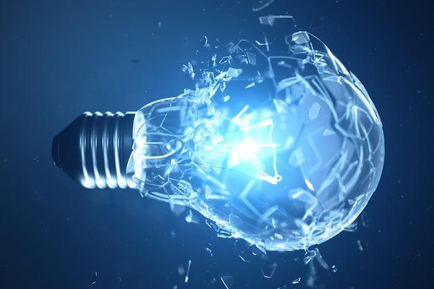 3 dイラストレーション青色の背景に電球を爆発させる、コンセプトの創造的思考と革新的なソリューション。