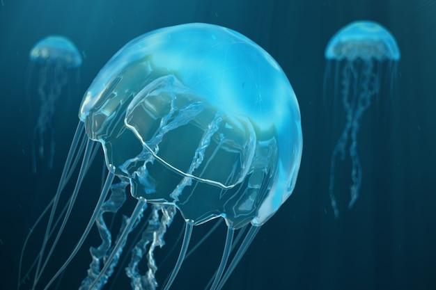 クラゲの3 dイラスト背景。クラゲは海の海で泳ぎ、光は水を通過し、ボリュームレイの効果を生み出します。危険な青いクラゲ
