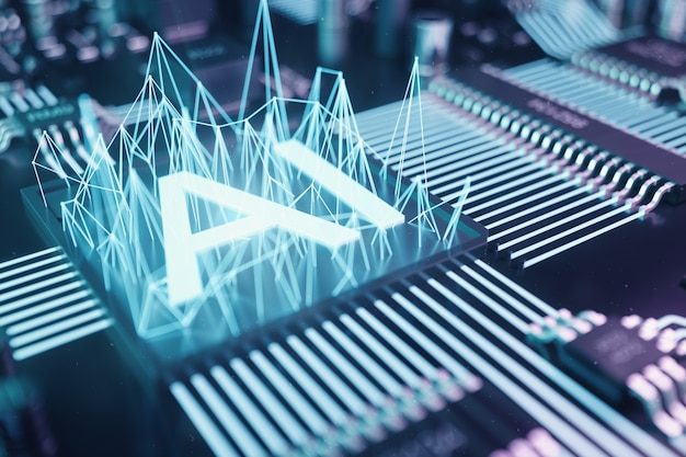 3 dイラストレーションは、プリント回路基板上の人工知能を抽象化します。技術とエンジニアリングの概念。人工知能のニューロン。電子チップ、ヘッドプロセッサー。