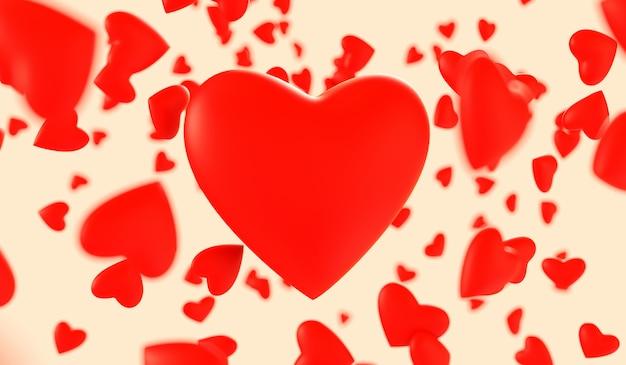 赤いハートを飛んでいます。バレンタイン・デー。 3 dレンダリング図