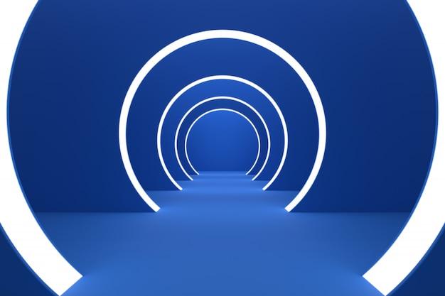 グロー光3 dレンダリングと青い円部屋の背景