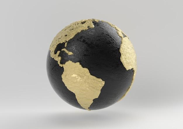 地球の贅沢なアイデア。コンセプト黒と白の背景、3 dのレンダリングとゴールド。
