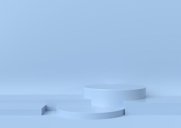 青の背景、3 dのレンダリングのショーケースの舞台表彰台のシーン。