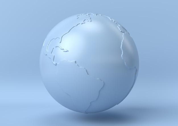抽象的な青い色の地球の背景、モダンなミニマリスト、3 dレンダリング