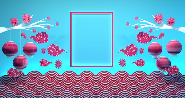 中国の旧正月バナーの背景3 dレンダリング