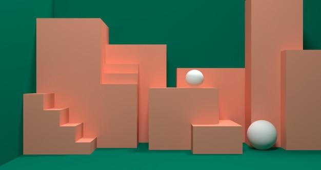 抽象的な緑色の幾何学的形状、モダンなミニマリストの表彰台ディスプレイまたはショーケースの3 dイラストレーション