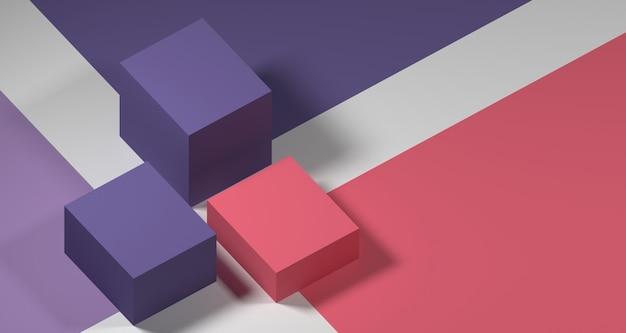 抽象的なパステルカラーの幾何学的形状、モダンなミニマリストの表彰台ディスプレイまたはショーケースの3 dイラストレーション