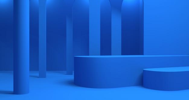 抽象的な青い色の幾何学的形状、モダンなミニマリストの表彰台ディスプレイまたはショーケースの3 dイラストレーション