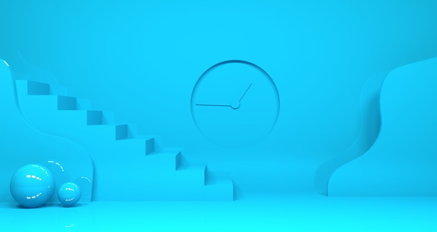ティールブルーの抽象的な幾何学的形状の3 dレンダリング