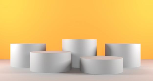 黄色の背景色に白いシリンダー表彰台の3 dイラストレーション