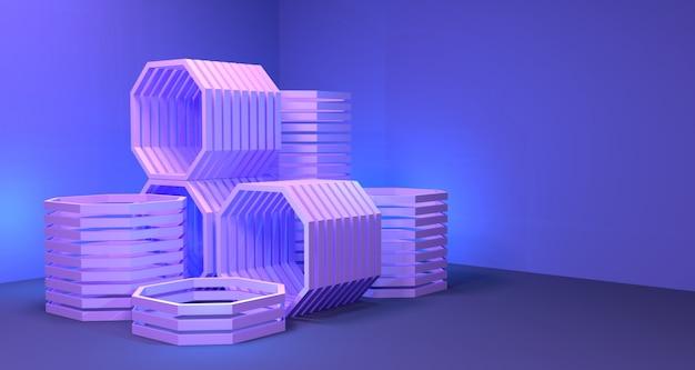 八角形の深さの3 dイラストレーション