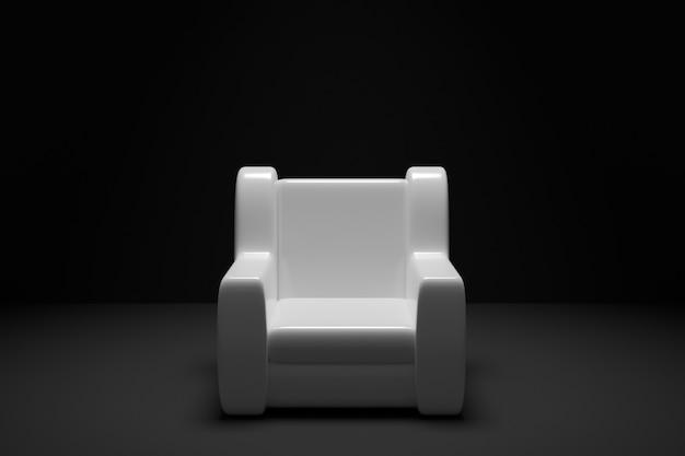 Иллюстрация 3 белое кресло на черной изолированной предпосылке.