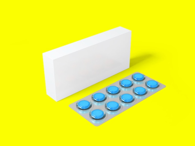 3 rendering blank white package box for blister of pills isolated on colored surface
