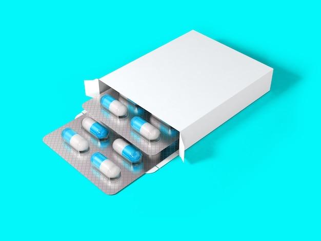 3色付きの背景で分離された錠剤のブリスター用の空白の白いパッケージボックスをレンダリングします。デザイン要素に適しています。
