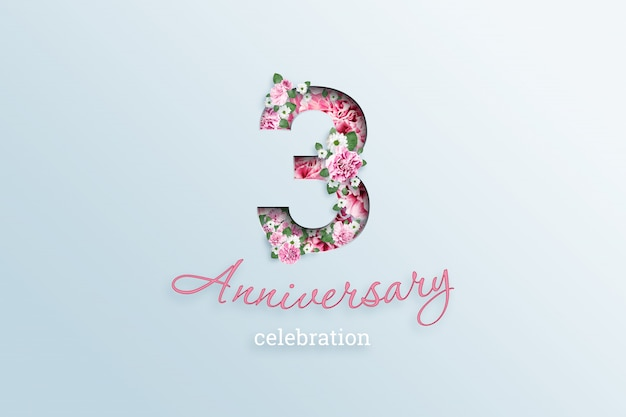 Надпись 3-й номер и празднование годовщины textis flowers, на свет