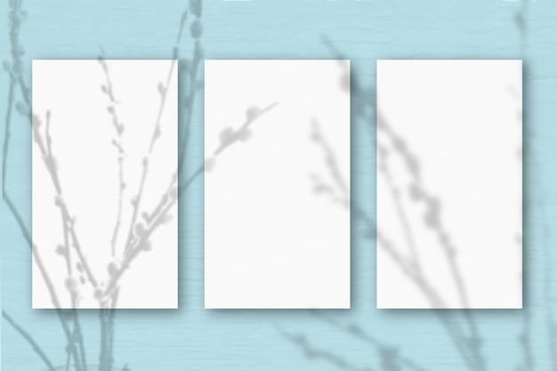 3 вертикальных листа текстурированной белой бумаги на мягком сине-зеленом фоне стола. мокап с наложением теней растений. естественный свет отбрасывает тени от веток ивы. горизонтальная ориентация.
