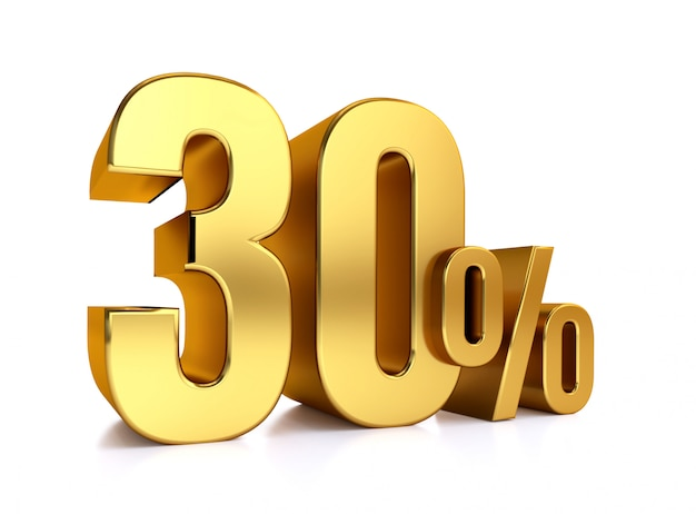 30 процентов на белом фоне. 3d-рендеринг золотой металл скидка. 30%