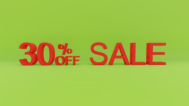 30-процентный текст продажи в 3d зеленой стене