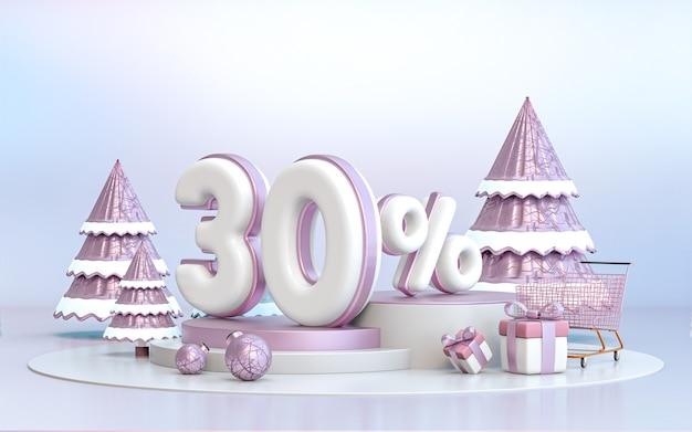 30-процентное зимнее специальное предложение со скидкой фон для рекламного плаката в социальных сетях 3d-рендеринга