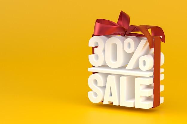 30-процентная распродажа с бантом и лентой 3d-дизайн