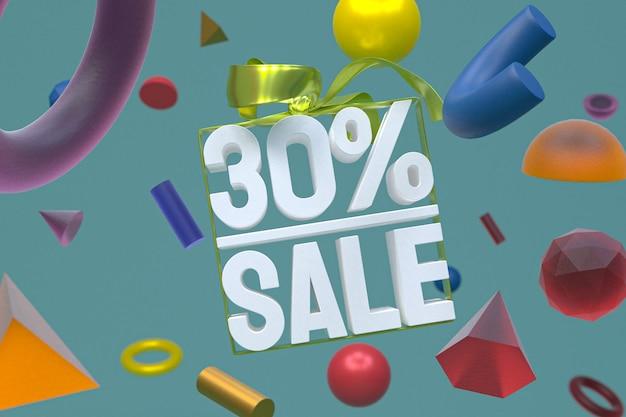 Распродажа 30% с бантом и лентой 3d-дизайн на фоне абстрактной геометрии