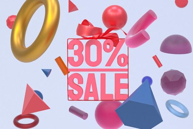 Распродажа 30% с бантом и лентой 3d дизайн на абстрактной геометрии
