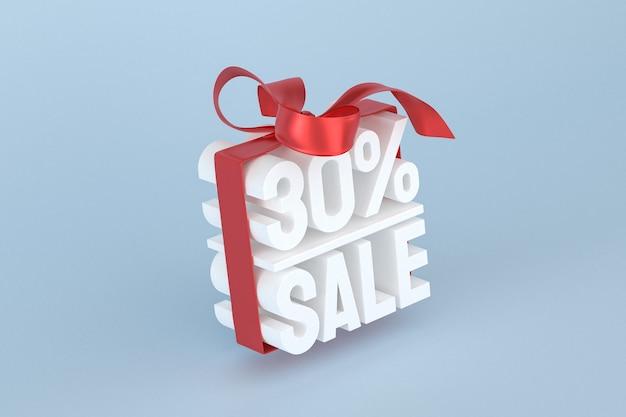 Распродажа 30% с бантом и лентой 3d-дизайн на пустом фоне