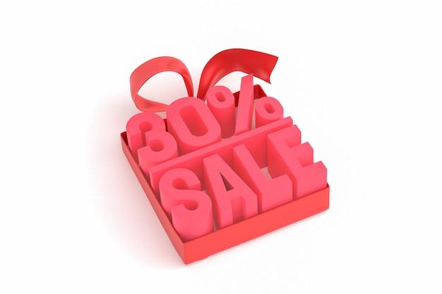 Распродажа 30% с бантом и лентой 3d-дизайн на пустом фоне Premium Фотографии