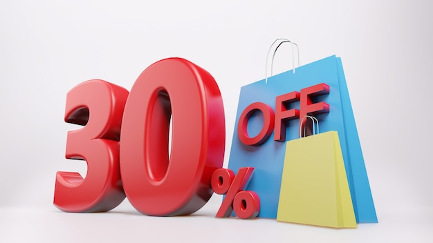30%シンボルとショッピングバッグ