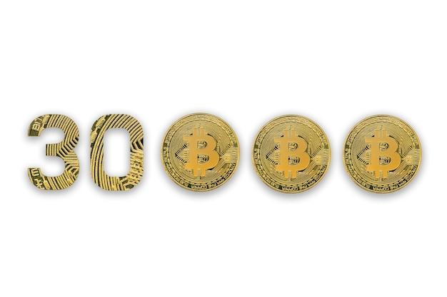 Курс обмена 30000 биткойнов, изолированный. стиль криптовалюты для дизайна.