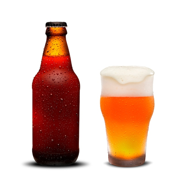 300ml beer bottles and glass beer with drops on white background.