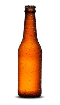 300ml beer bottles long neck with drops on white background.
