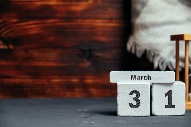 31 thirty-first day of spring month calendar march with copy space.