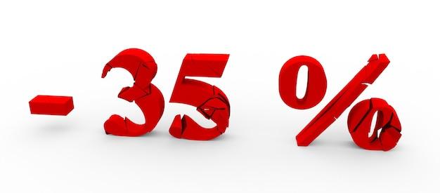 Значок скидки 35 процентов на белом фоне 3d