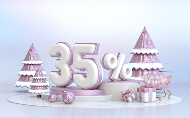 35 percent winter special offer discount background for social media promotion poster 3d rendering