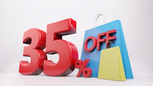 35%シンボルとショッピングバッグ