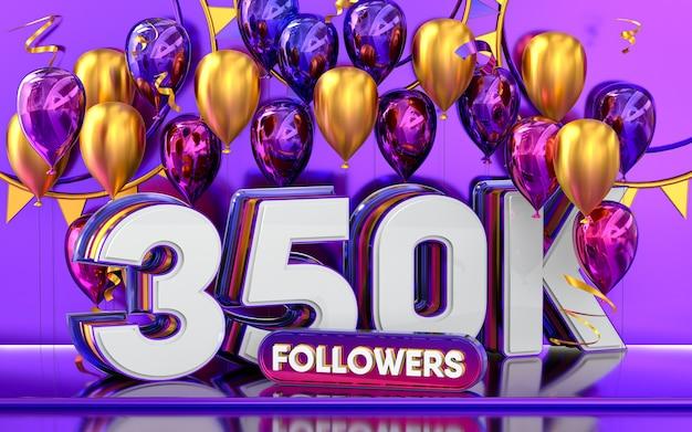 Празднование 350 тысяч подписчиков спасибо баннер в социальных сетях с 3d-рендерингом фиолетовых и золотых шаров