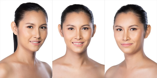 360 collage portrait of 20s asian young woman transgender has beautiful smooth skin and whitening clean. girl turns many angle face and express emotion. studio white background isolated group