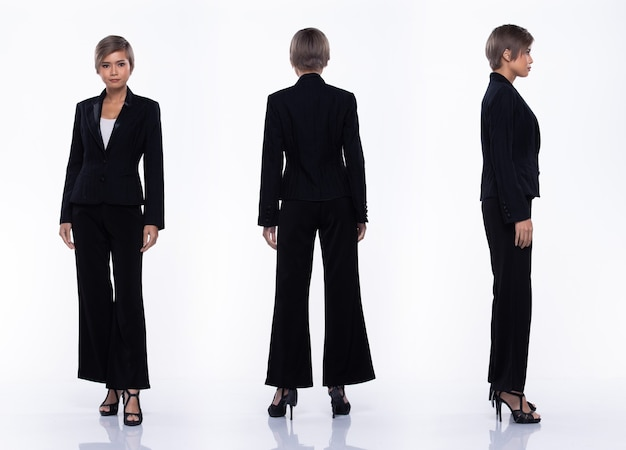 360 full length snap figure, asian business woman wear black suit, she 20s has dying gray color short hair and acts many poses, studio lighting white background isolated collage group