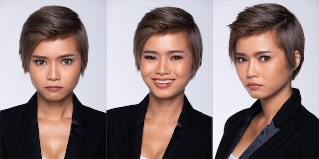 360 portrait snap figure, asian business woman wear black suit, she 20s has dying gray color short hair and acts many poses, studio lighting white background isolated collage group