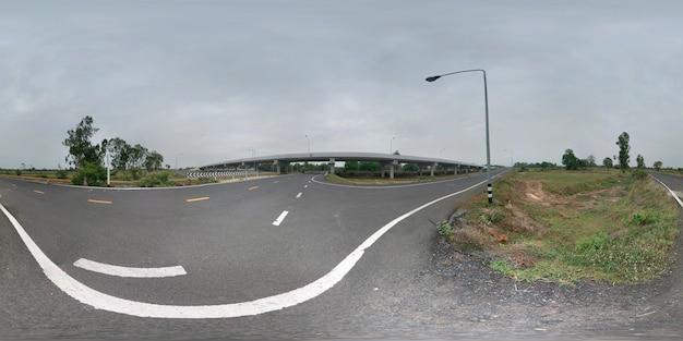 橋とアスファルト道路の360度球面パノラマ